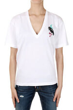 DSQUARED2 DIANA Woman Crow Printed V Neck T-shirt Made in Italy