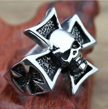 Mens Womens Silver Stainless Steel Skull CROSS 316L Biker Punk RING Skeleton