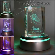 3D Glass Crystal Zodiac sign Aries Stier Twins LED Lamp base Engraving