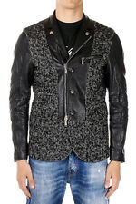 DSQUARED2 Dsquared² New Men  Leather and Wool coat Jacket Made italy Motorcycle