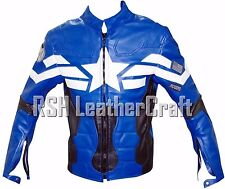 Chris Evans Captain America The Winter Soldier Blue Leather Jacket (All Sizes)