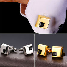18K Gold/Platinum Plated Black Cube Crystal Shirt Cufflinks for Men Jewelry Gift