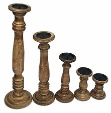 Rustic Shabby Chic Brown Carved Pillar Church Wooden Candle Holder Stick Stand