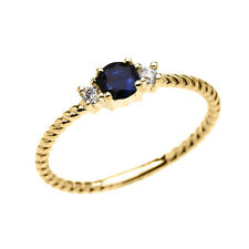 14k Yellow Gold Dainty Solitaire Sapphire & White Topaz Rope Stackable Ring