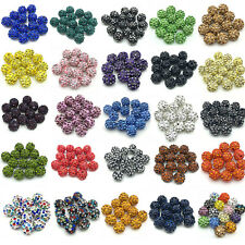 Wholesale Lot 25 Color Micro Pave Disco Crystal Rhinestone Beads Bracelet Spacer