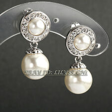 Fashion Rhinestone White Pearl Dangle Earrings 18KGP Crystal