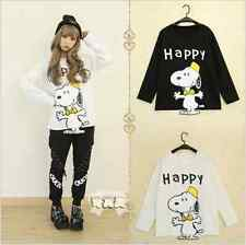 Japanese Loose Long sleeve  T-shirt  WOMEN  Letter Cartoon Printing Autumn