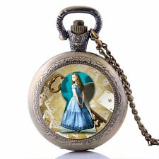 Cosplay Alice in Wonderland Alice Quartz Pocket Watch Necklace Chain Boys Girls