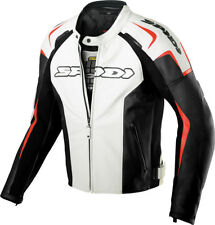 Spidi White/Red/Black Track Leather Motorcycle Jacket With Removable Liner