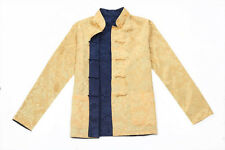 blue/yellow Double face Chinese style men's jacket coat sz:S-M-L-XL-XXL