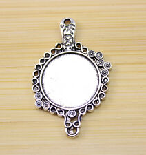 6/15/30 pcs Antique Silver Cameo Cabochon Base Setting Charm connector 40x25 mm