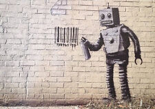 Stretched Barcode Robot Canvas Print by Banksy Graffiti Street Art *Assorted*