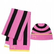 Juicy Couture Rugby Stripe Scarf Beanie Skully Cap Pink Black Hat Winter