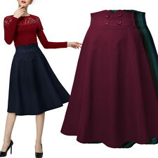 Women Vintage High Waist Pleated Skirts Stretch Flared Swing Skater Wiggle Dress