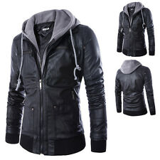 New Stylish Slim Fit Hooded Mens Black Motorcycle PU Leather Jacket Coat Outwear