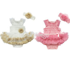 Newborn Infant Baby Girl Headband+ Romper Jumpsuit Tutu Dress Clothes Outfit Set