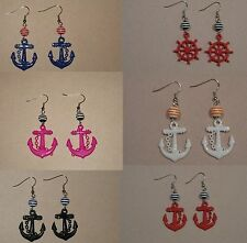 Nautical Pirate Sailor Pinup Rockabilly Retro Mod Bombshell Earrings Anchor