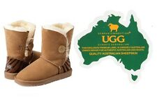 Genuine Australian Sheepskin UGG Button Boots with Tiger Print (Chestnut)-FREE S