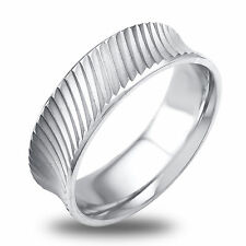 Platinum Ridged Design Mens Wedding Band