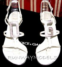 Dolce & Gabbana White Patent Leather FAB CRYSTAL Womens Shoes 38/8