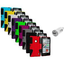 For Nokia Lumia 520 Hybrid Mesh Hard/Soft Silicone Color Case Cover+USB Charger