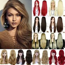 Long Curly Straight Full Head Wigs Cosplay Party Daily Fancy Dress With Fringe