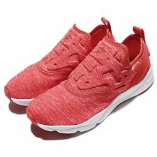 Reebok Furylite Slip On Jersey Red White Womens Casual Shoes Sneakers AR3049