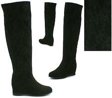 WOMENS WEDGE KNEE HIGH BOOTS MID HEEL ZIP PULL ON CROCHET STRETCH SIZE 3-8