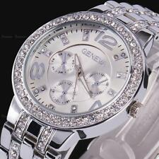 Geneva Silver Stainless Steel Analog Quartz Wrist Watch Women Lady Bling Crystal