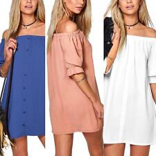 Fashion Womens Strapless Off Shoulder Straight Dress Loose Casual Short Dresses