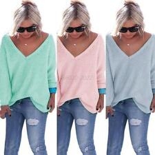 Women's Solid Long Sleeve Sweater Loose Cardigan Knitted Sweater V-Neck Pullover