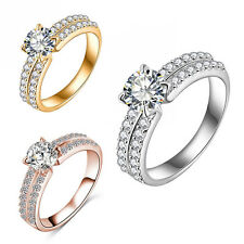 Simple Size 6-9 Gold Filled Elegant White Sapphire Wedding Rings Gift For Women