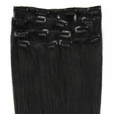 105g 8pcs Clip In Real Human Hair Remy Hair Clip Extensions Jet Black 40cm~60cm