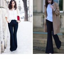 NEW ZARA FLOWY FLARED BLACK PALAZZO TROUSERS XS S
