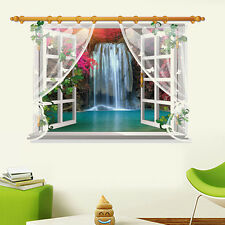 Waterfall Kid Room 3D Window Decal Removable Wall Stickers Home Decor Art Mural