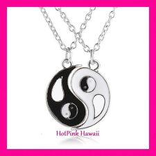 2pcs BF Ying Yang Black White Fit Together Silver Plated Charm Necklace USA MADE