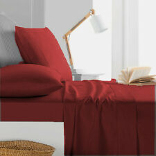 1000TC Egyptian Cotton 1pc  FLAT SHEET Sateen Solid Dark Red
