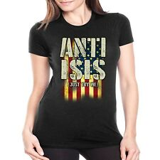 Patriotic Fitted Shirt Anti Isis (Just Try Me) American Flag JUNIORS