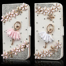 X5 Hot Sale Luxury 3D Bling Crystal Rhinestone Flip Wallet PU Leather Case Cover