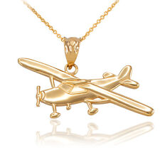 Polished Fine 10k Gold Piper Tri Pacer PA-20 Aircraft Airplane Pendant Necklace