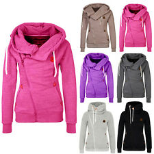 Women Plain Zipper Hoodie Tops Hooded Sweatshirt Winter Pullover Coat Jacket RF
