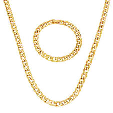 Men's 7mm Gold Plated Rounded Cuban Link Curb Chain & Bracelet Set