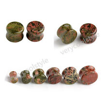 Pair Unakite Stone Ear Saddle Flared Tunnels Plugs Stretcher Gauges Piercing Kit