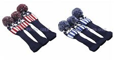 Golf NEW Pom Pom Knit Headcover Fairway Woods Driver Hybrid Head Covers set 3X