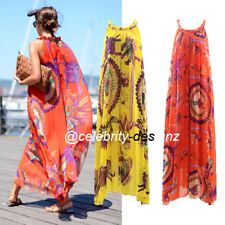 dm17 Celebrity Style Bohemian Indian Print Sleeveless Halter Chiffon Maxi Dress