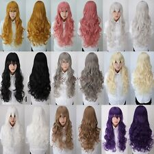 Sexy Ladies Wigs Long Curly Straight Full Hair Wig Cosplay Party Fancy Dress Red