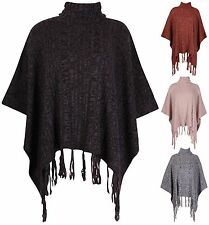 Womens Plus Size Batwing Sleeve Ladies Knit Tassel Wrap Poncho Cape Jumper Top