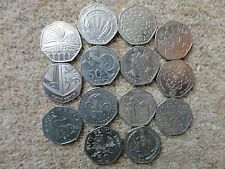 Rare UK 50 pence coins, United Kingdom, British 50p Coins. Circ. Commemorative