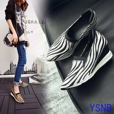 FASHION Women's Pointed Toe Wedges Mid Heels Casual Pumps Zebra Leopard Printing