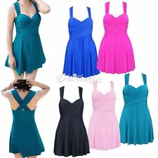 Plus Size Women Crossover Swimwear Swimdress Beach Dress Skirted Padded Swimsuit